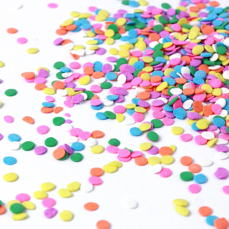 WHITE CONFETTI ROUNDS 3mm Edible Sugar Cupcake Sprinkles Cake Decoration