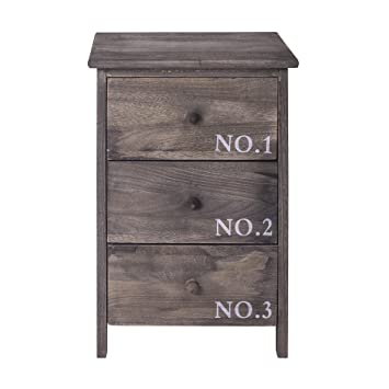 Rebecca Mobili Table De Chevet Commode 3 Tiroirs Bois Gris Blanc