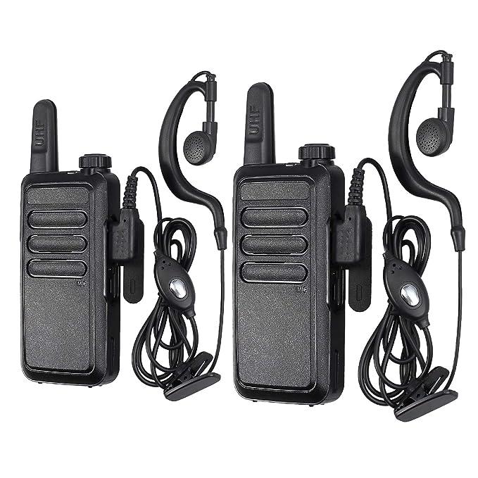 eSynic 2X Walkie Talkie Radio VOX Woki Toki 2 vías 16 Canales Transceptor Recargable de Larga Distancia con Auriculares Cargador USB