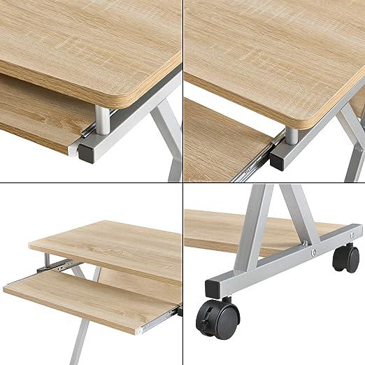 Schreibtisch 60x40x75cm Weiß Rollbar Computertisch Bürotisch Tisch