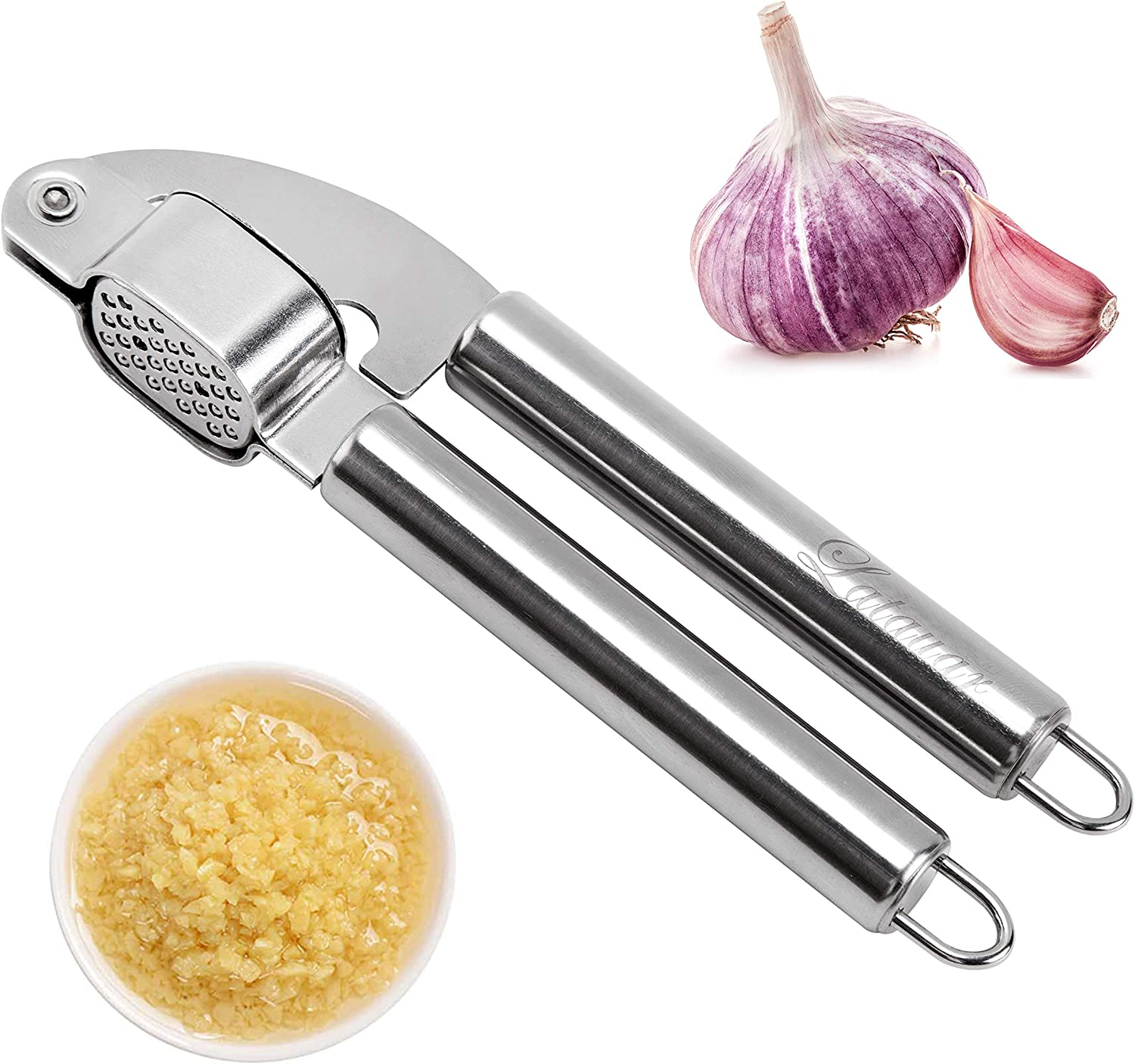 Latauar Garlic Press, Stainless Steel Mincer and Crusher with Garlic Rocker and Peeler Set NEW DESIGN-Professional Grade, Dishwasher safe, Rust-proof