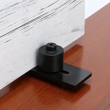 SMARTSTANDARD Sliding Barn Door Bottom Adjustable Floor Guide Roller,  Black, Super Smoothly and Quietly, Easy to Install