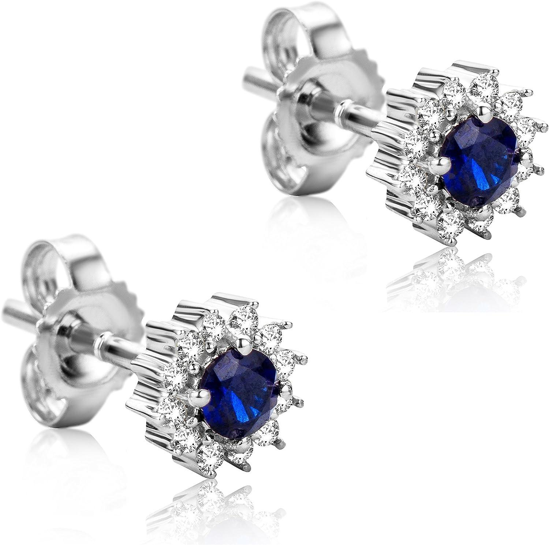 Orovi Pendientes Señora Solitario en Oro Blanco con Diamantes Talla Brillante 0.10 ct y Zafiro Talla Redonda 0.25 Ct Oro 9 Kt / 375