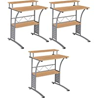 Flash Furniture Clifton Maple Computer Desk with Top and Lower Storage Shelves Pack of 3