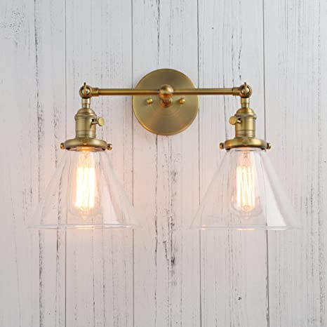 Permo Double Sconce Vintage Industrial Antique 2-lights Wall Sconces with Funnel Flared Glass Clear & Permo Double Sconce Vintage Industrial Antique 2-lights Wall Sconces ...