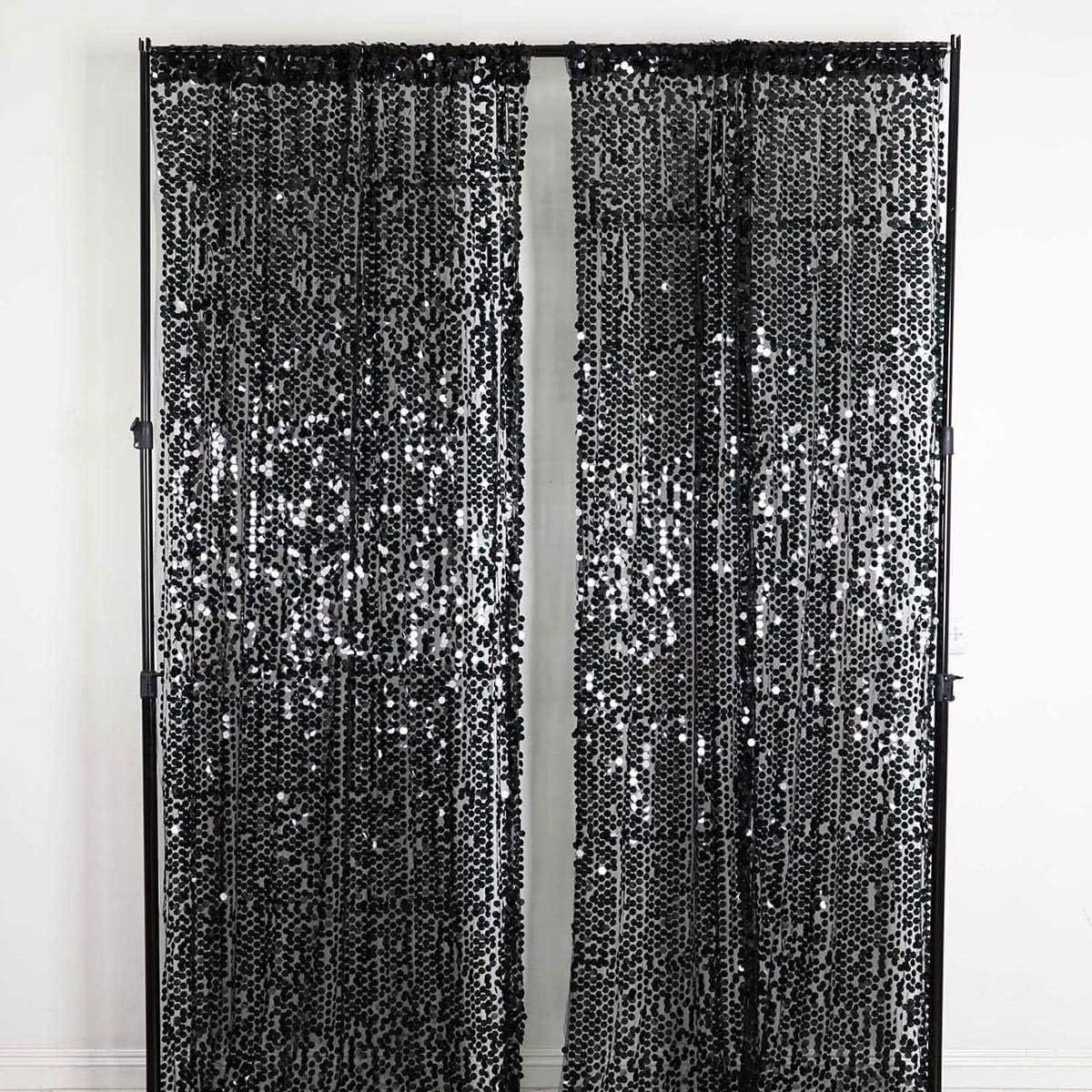 Efavormart 2 Panels Black Big Payette Sequin Room Darkening Window Treatment Panel Drapes with Rod Pockets 52 Wx108 L