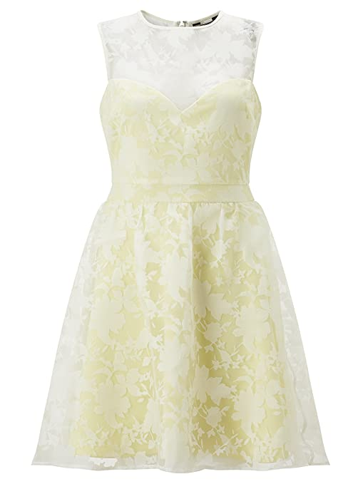 Lipsy Womens Floral Burnout Prom Dress Yellow 10 at Amazon Womens Clothing store:
