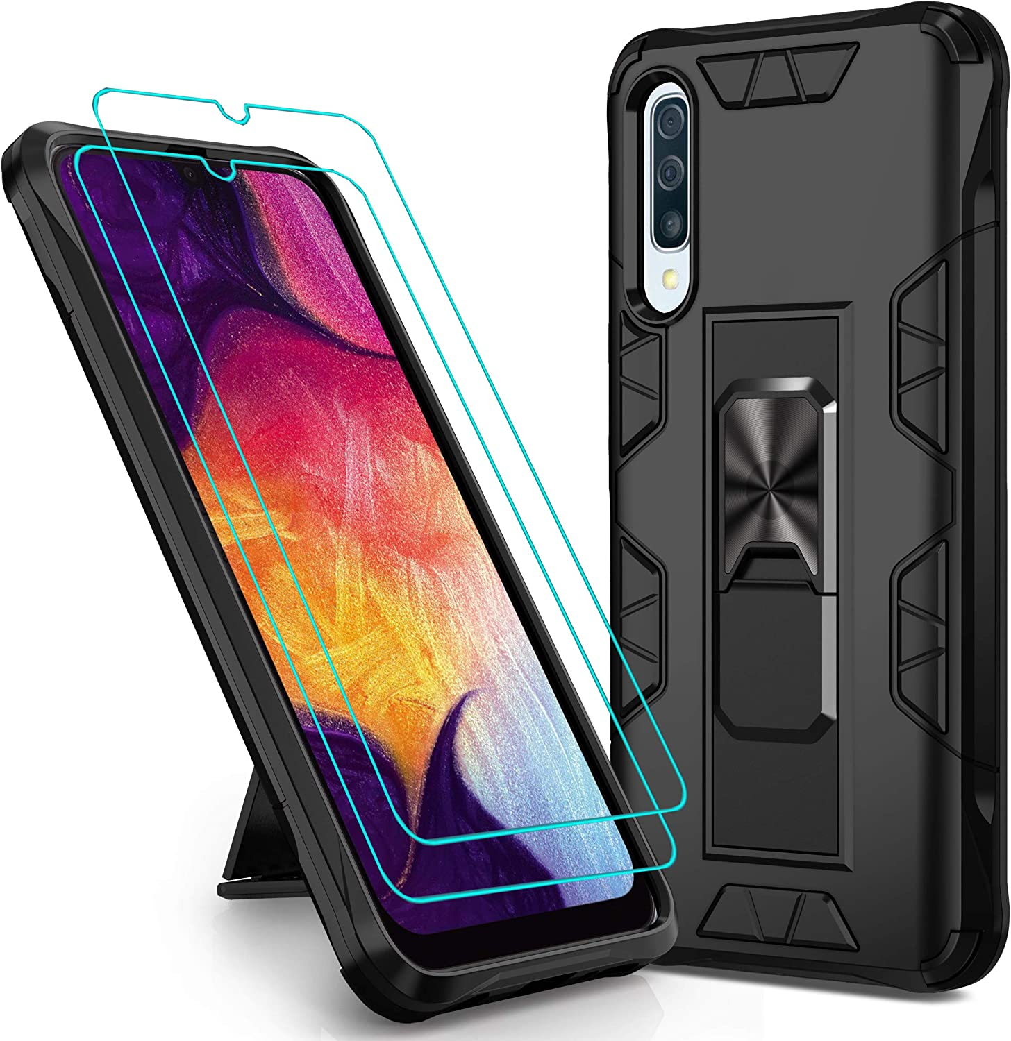 Mieziba Compatible with Galaxy A50/A50s/A30s Case with Screen Protector [2 Pack],[ Military Grade ] 15ft. Drop Tested Protective Case [Kickstand] Compatibl Galaxy A50/A50s/A30s,Black