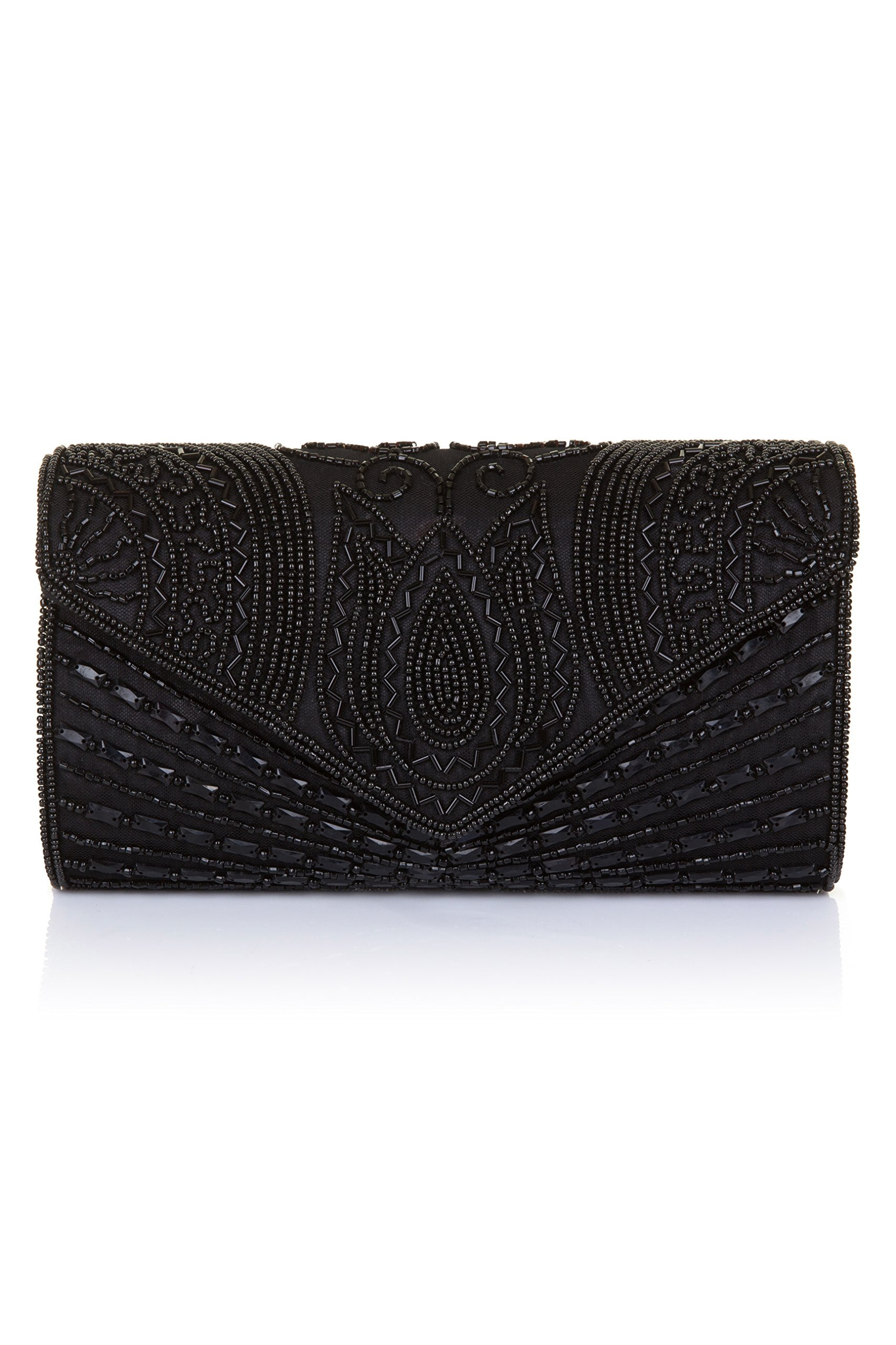 Beatrice Vintage Inspired Hand Embellished Clutch Bag in Black by gatsbylady london