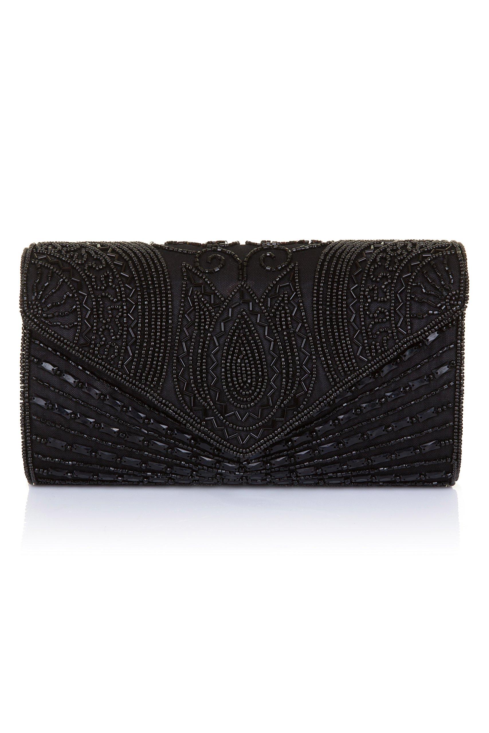Beatrice Vintage Inspired Hand Embellished Clutch Bag in Black
