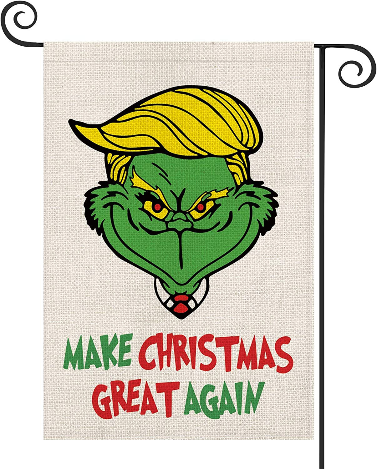 AVOIN Make Christmas Great Again Grinch Garden Flag Vertical Double Sized, Winter Holiday Party Yard Outdoor Decoration 12.5 x 18 Inch