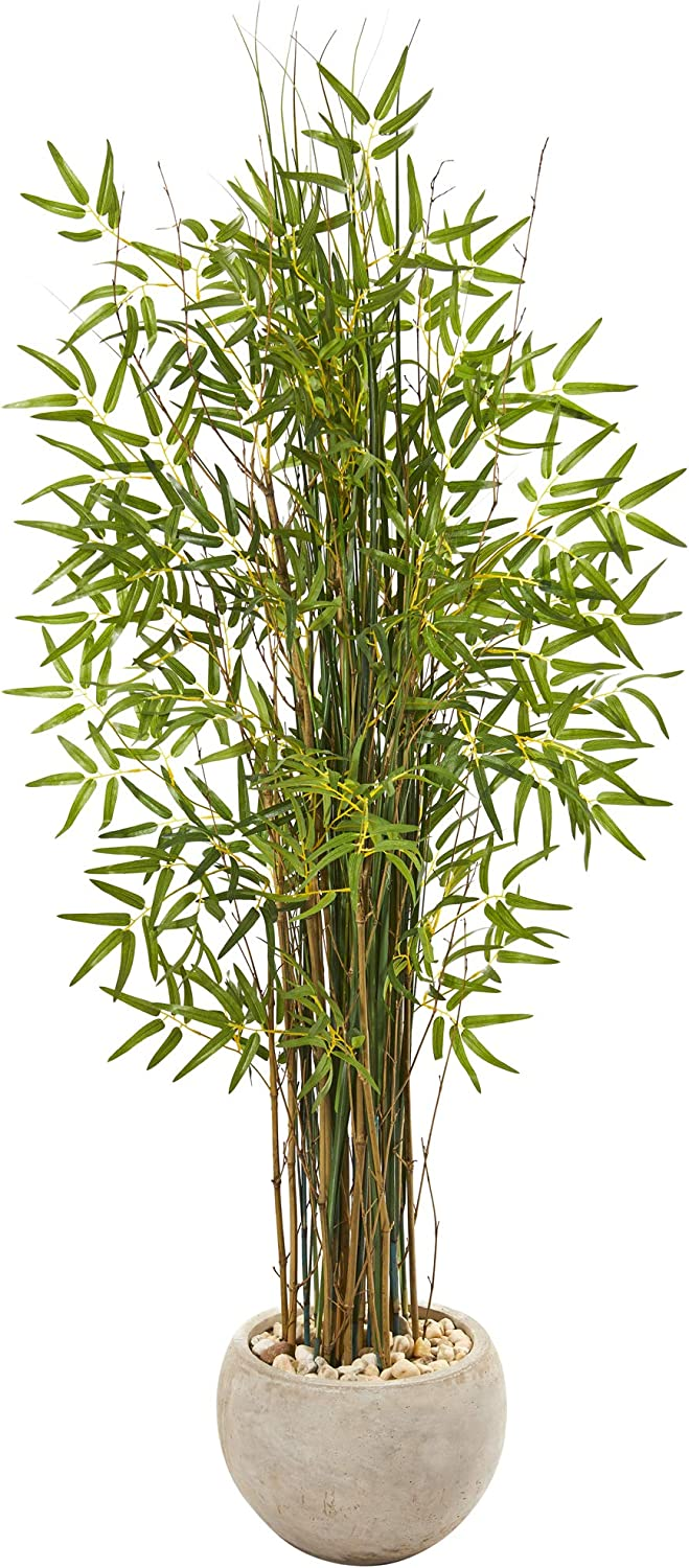 Nearly Natural 61in. Grass Artificial Bamboo Sand Colored Planter Silk Plants, Green
