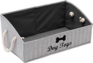 Geyecete Large Dog Toys Storage Bins-Foldable Fabric Trapezoid Organizer Boxes with Cotton Rope Handle,Collapsible Basket for Shelves,Dog Apparel