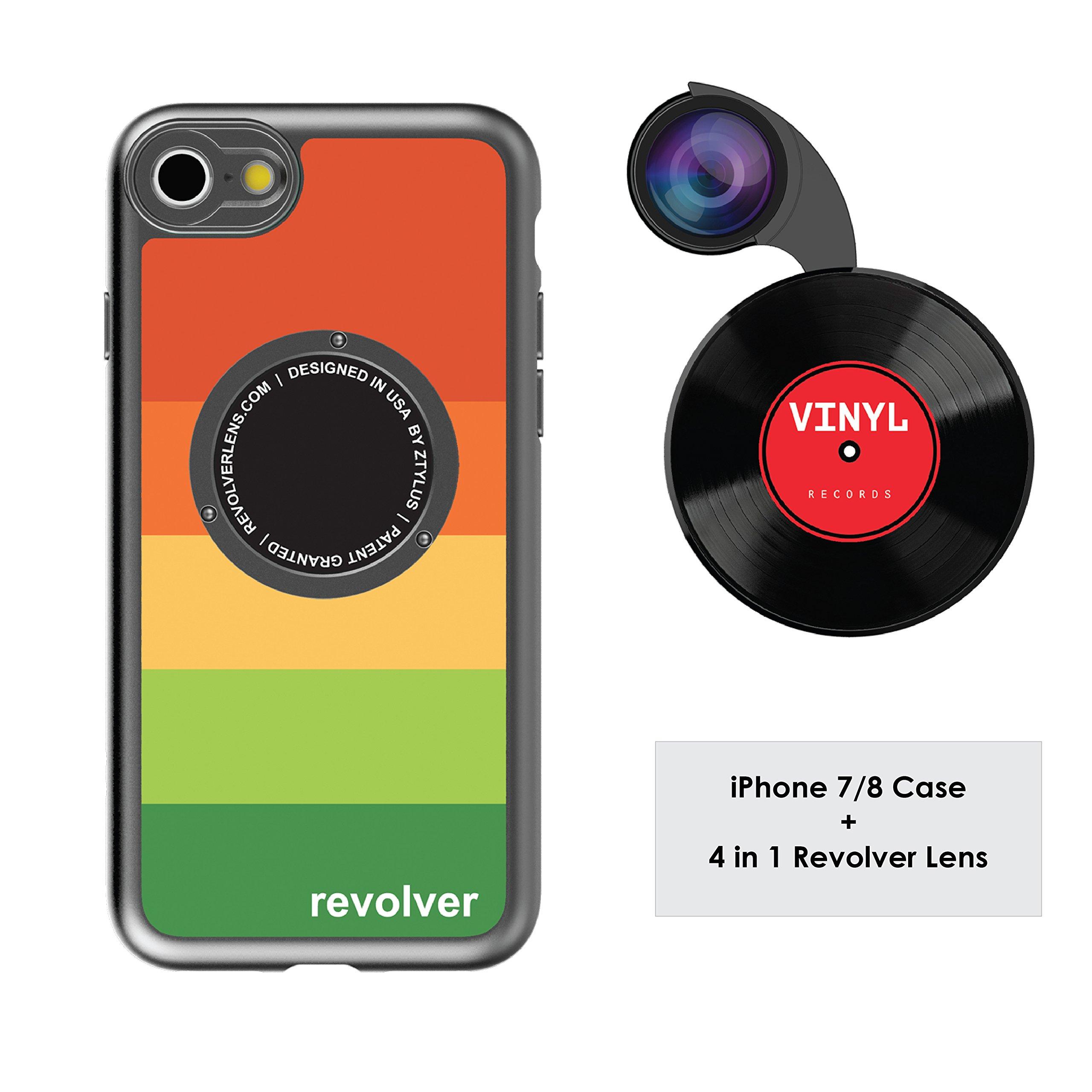 Funda y 4  Lentes Ztylus Revolver p/ iPhone 7/8 - Rainbow...