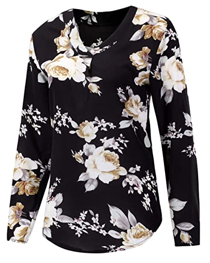 c567bfaf7bf Foucome Womens Floral Printed Tunic Shirts 3 4 Roll Sleeve Notch Neck Tunic  Top Black