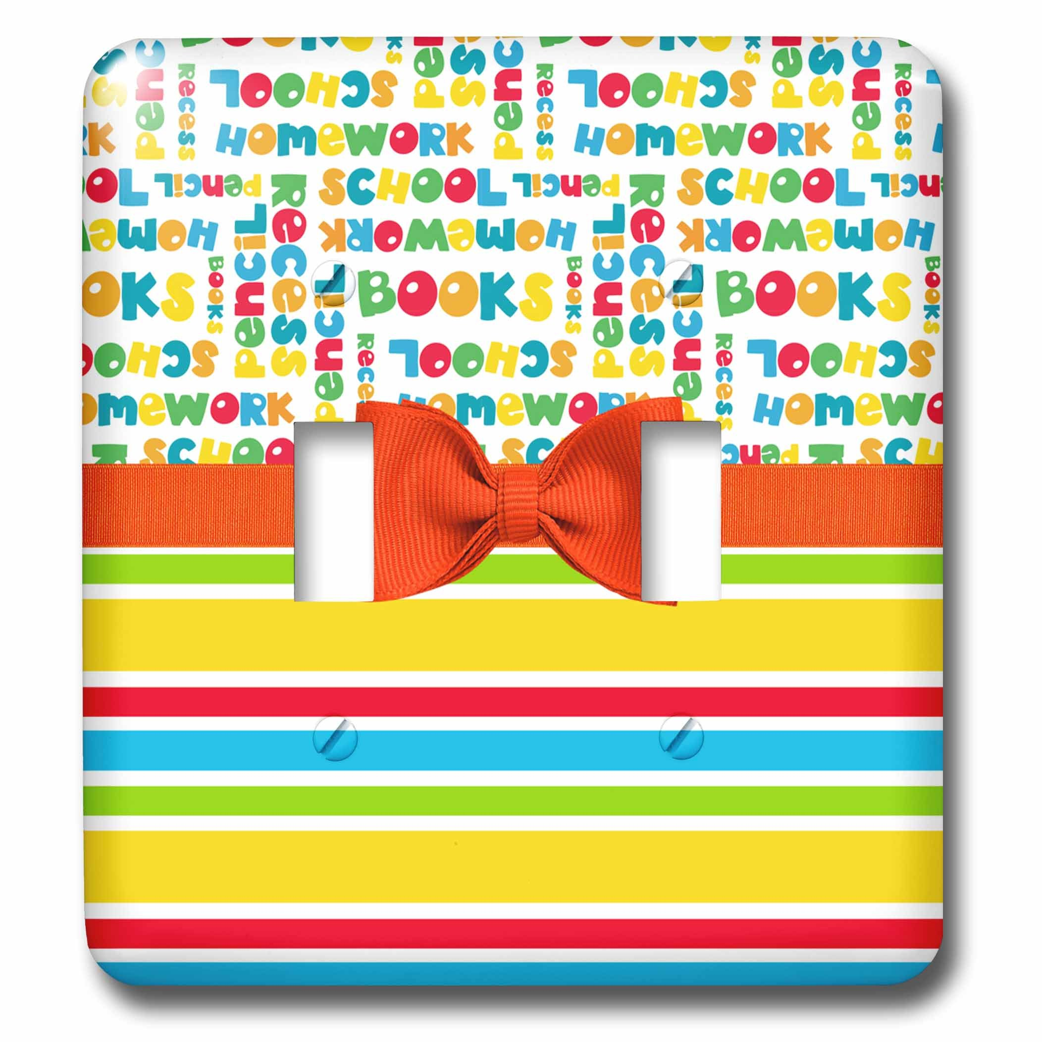 3dRose Anne Marie Baugh - Designs - Cute Primary Colors School Words Over Stripes With Digital Bow - Light Switch Covers - double toggle switch (lsp_282891_2)