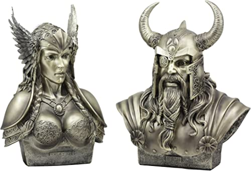 Ebros Norse Viking Mythology Chief God Odin and Goddess Valkyrie Busts Statue Set Poetic Edda Gods of Asgard Protectors of The Nine Realms