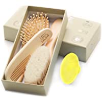 Little Tinkers World Natural 4 Piece Wooden Baby Hair Brush & Comb Set - Healthcare and Grooming Kit for Newborns…