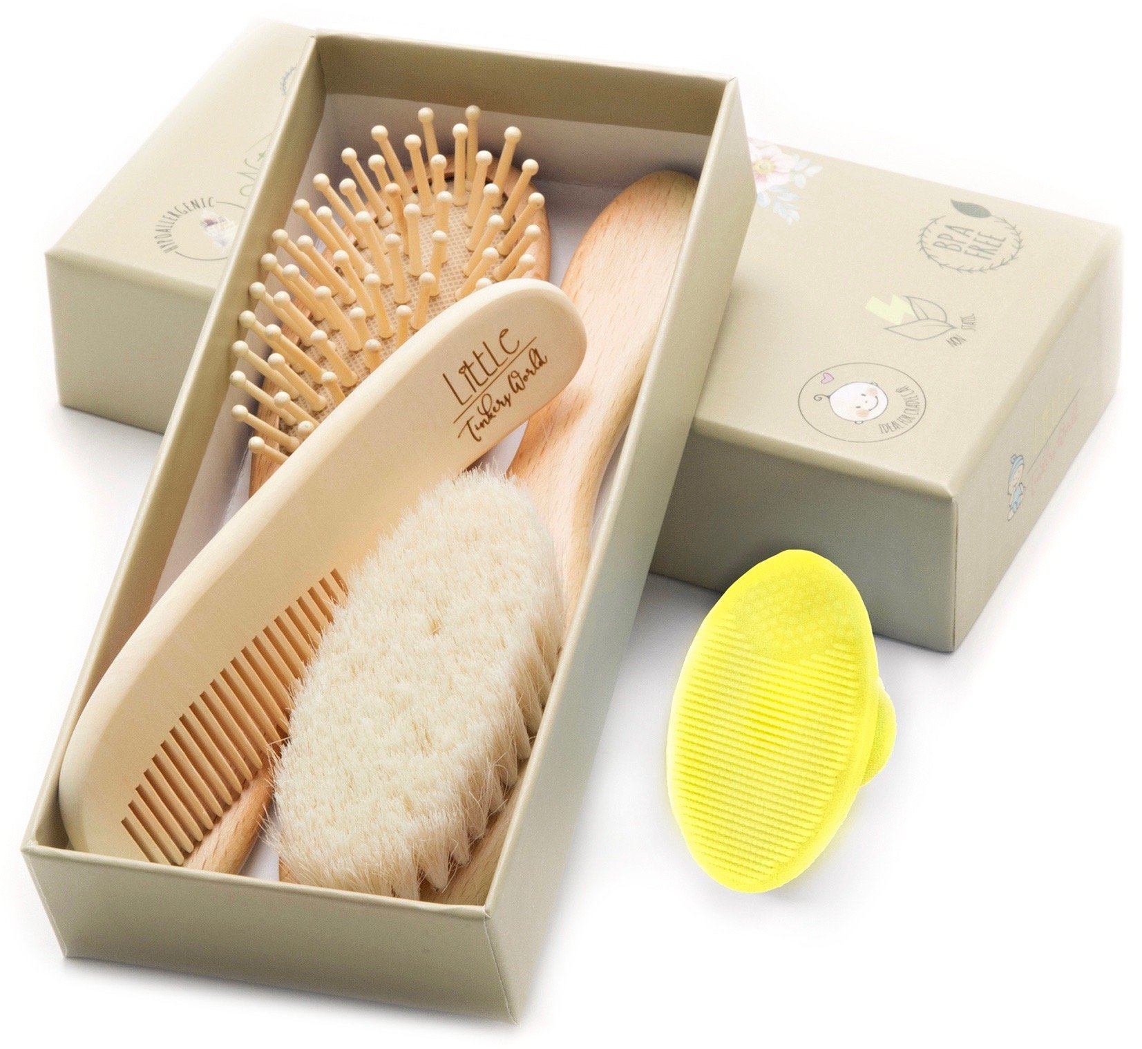 Wooden Baby Hair Brush and Comb Set (4-Piece) for Newborns and Toddlers | Ideal for Baby Cradle Cap | Wood Bristles Baby Brush | Baby Massage and Scalp Brush | Perfect for Baby Registry Gift Set by Little Tinkers World