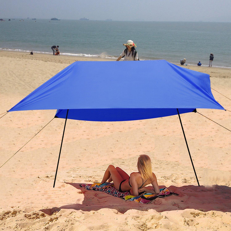 Qulista 3x3m Bâche de Tente Abri du Soleil Imperméable Portable Léger Pare-Soleil Tarp pour Plage Camping Randonnée Pique-Nique