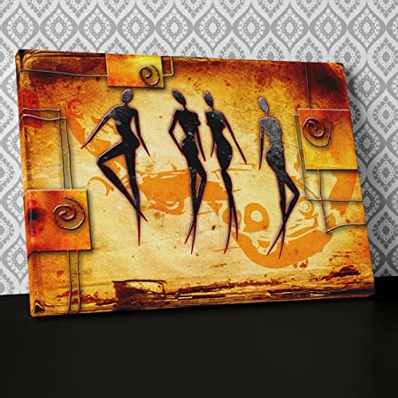 African Tribal Abstract Canvas Wall Art, Framed Ready to Hang ...