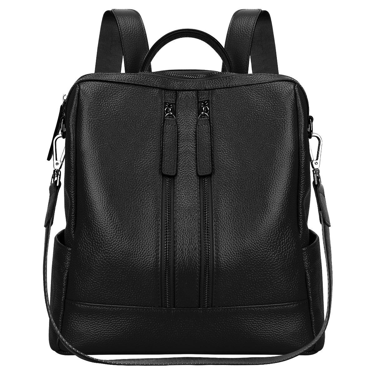 S-ZONE Lightweight Women Genuine Leather Backpack Casual Shoulder Bag Purse Medium (Black)