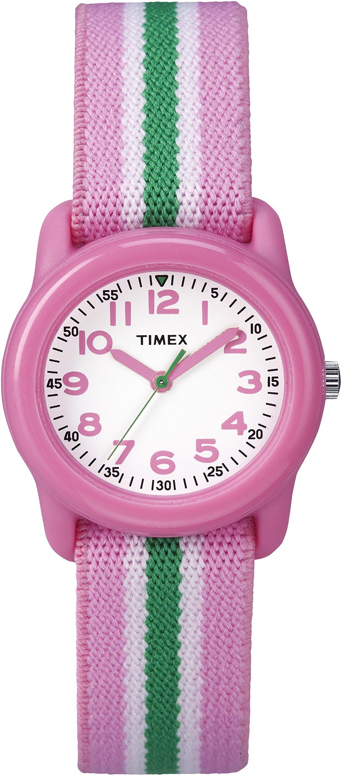 Timex Girls TW7C05900 Time Machines Analog Resin Pink/Green Stripes Elastic Fabric Strap Watch