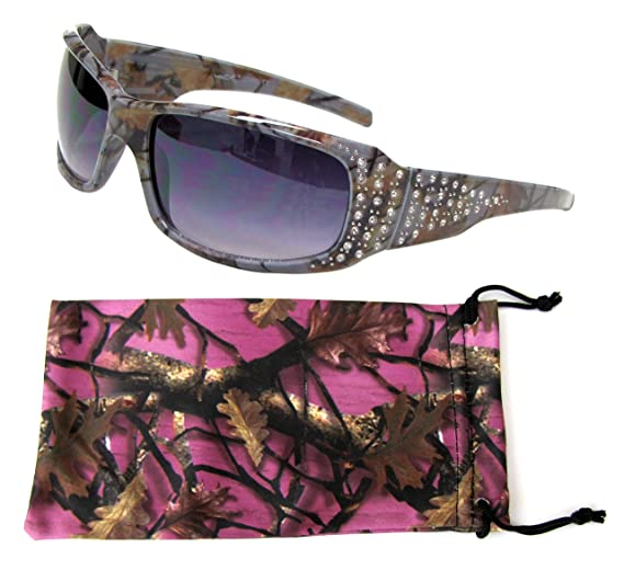 69447a1bd7ae VertX Women s Grey Camo Sunglasses Rhinestone Hunting Fishing Outdoor –  Grey Camo Frame – Smoke Lens