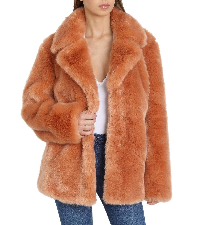 Flamingo Avec Les Filles Womens Faux Fur Mid Length Coat with Notch Collars FauxFur Coat