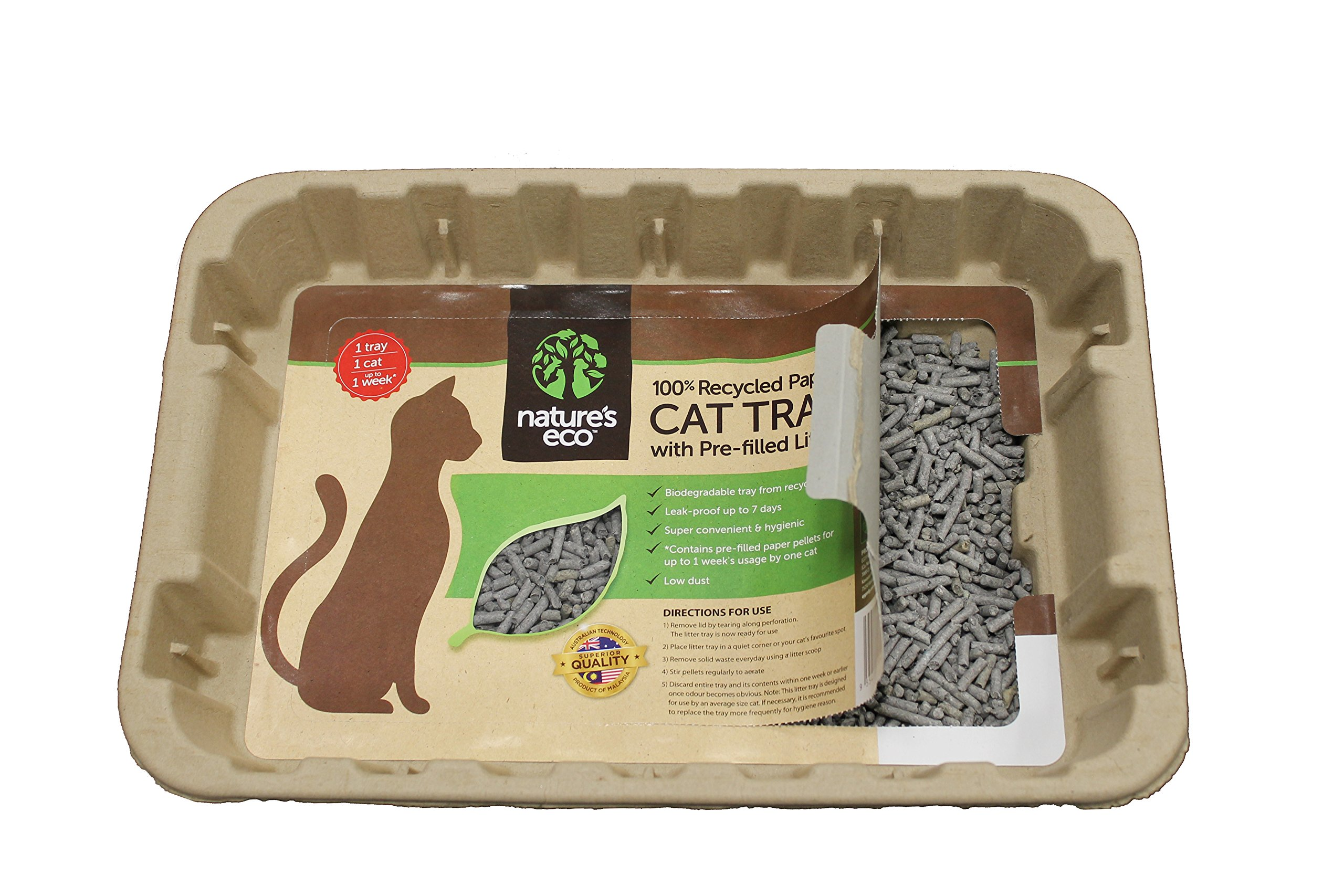 Disposable Cat Litter Boxes, Pre-Filled with 100% Recycled Paper Litter Pellets- 5 Pack of Trays- Includes Litter. Eco Friendly! Simply Peel Off Perforated Lid, Use, Dispose of Entire Tray! 2