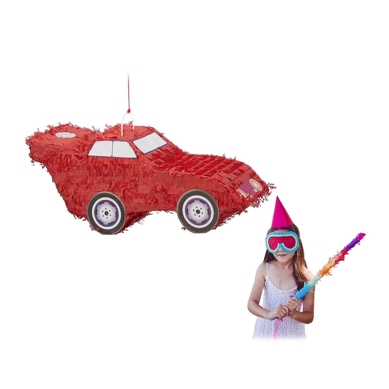 Relaxdays Pinata Voiture Auto à Suspendre pour Enfants à remplir Anniversaire décoration, Red, Hanging Car, Children, Girls, Birthday, Fillable 10022565