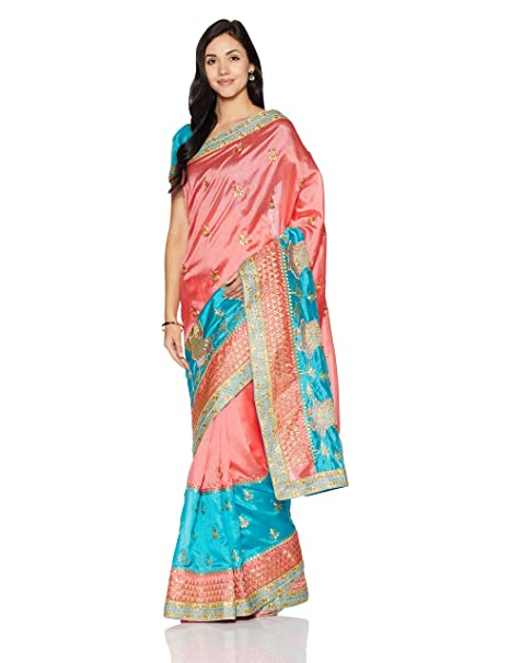 0f057ea59f9 Womanista Women s Embroidered Art Silk Saree with Blouse Piece (FS9302-Blue    Pink-
