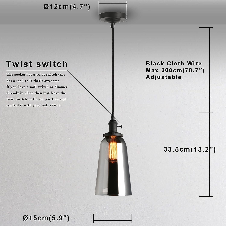 Phansthy Vintage Industrial Ceiling Light Glass Edison Pendant Light ...