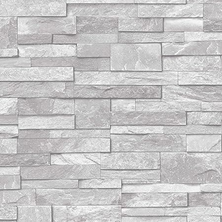 3d Slate Stone Brick Effect Wallpaper