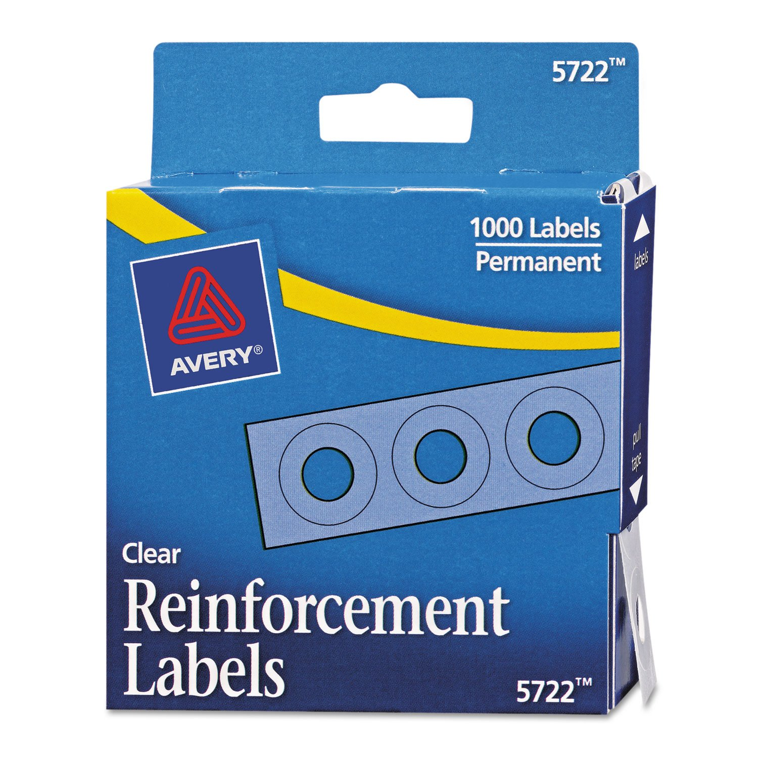 Avery 05722 Self-Adhesive Hole Reinforcement Labels, 1/4-Inch Round, Clear, 1000/PK by AVERY