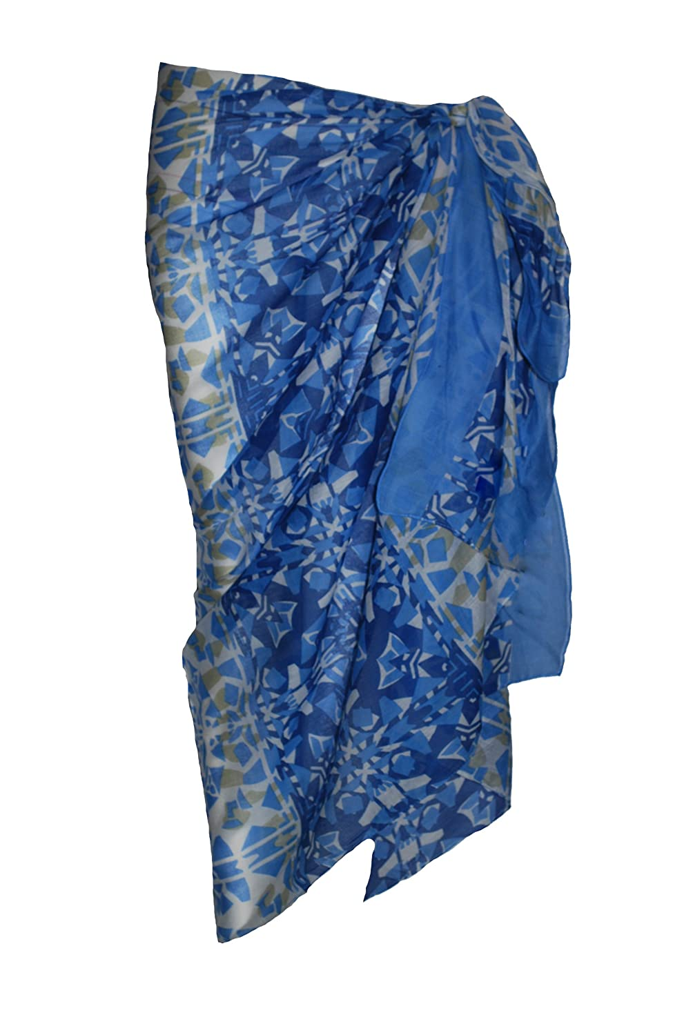 810d29e6291dd Blue Multi Pattern Cotton Sarong: Amazon.co.uk: Clothing