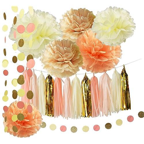 rusticvintage baby shower decorations birthday decor tassel garland in cream peach champagne tissue paper