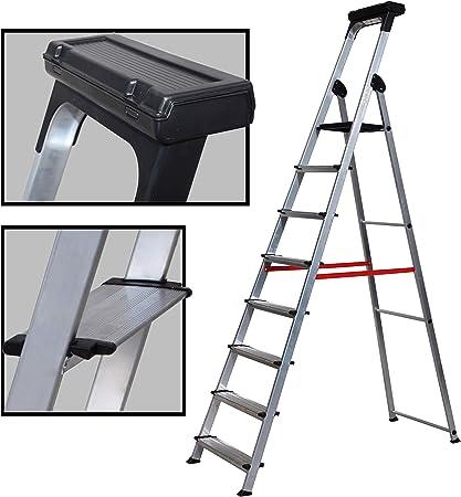 Escalera Ancha de Aluminio ELITE PLUS (8 Peldanos): Amazon.es ...