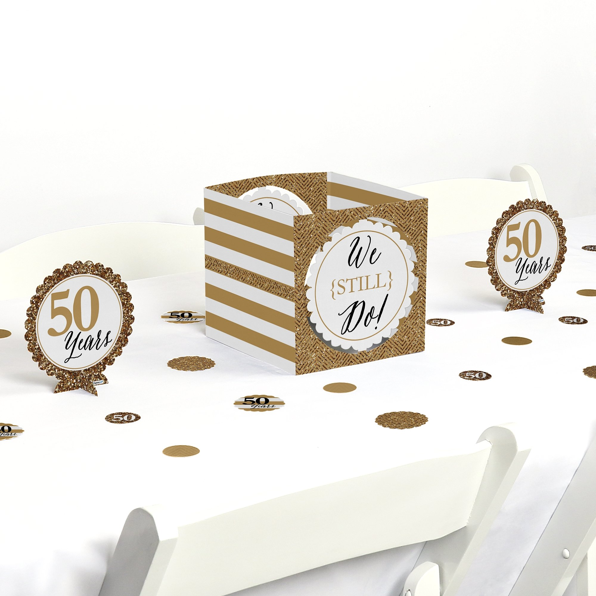 Big Dot of Happiness We Still Do - 50th Wedding Anniversary - Party Centerpiece & Table Decoration Kit