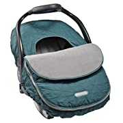 JJ Cole - Car Seat Cover, Weather Resistant Canopy to Protect from the Cold and Wind, Teal Fractal, Birth and Up