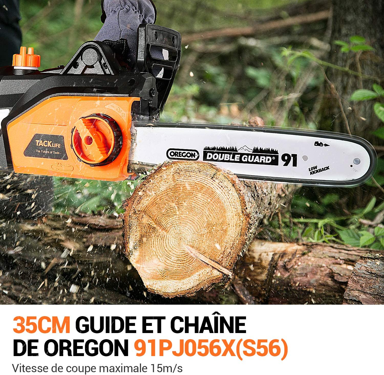 350mm Schnittl/änge Automatische Schmierung- GCS1800 Oregon Kette und Qualit/ätsschwert TACKLIFE Elektro Kettens/äge 1800W Elektrische Kettens/äge 15m//s Schnittgeschwindigkeit