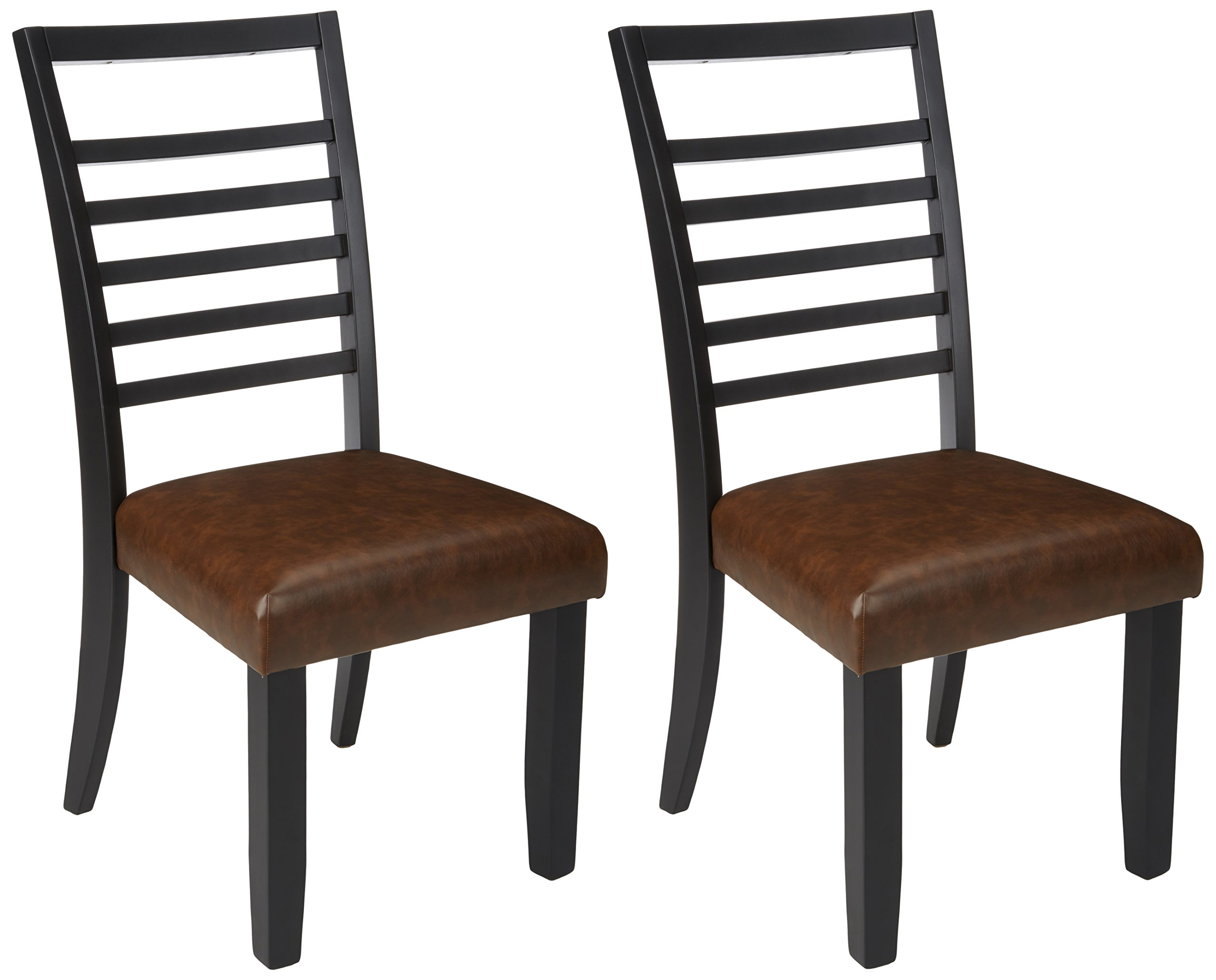 Ashley Furniture Signature Design - Manishore Dining Chair - Contemporary Style - Ladder Back - Set of 2 - Black/Brown by Signature Design by Ashley