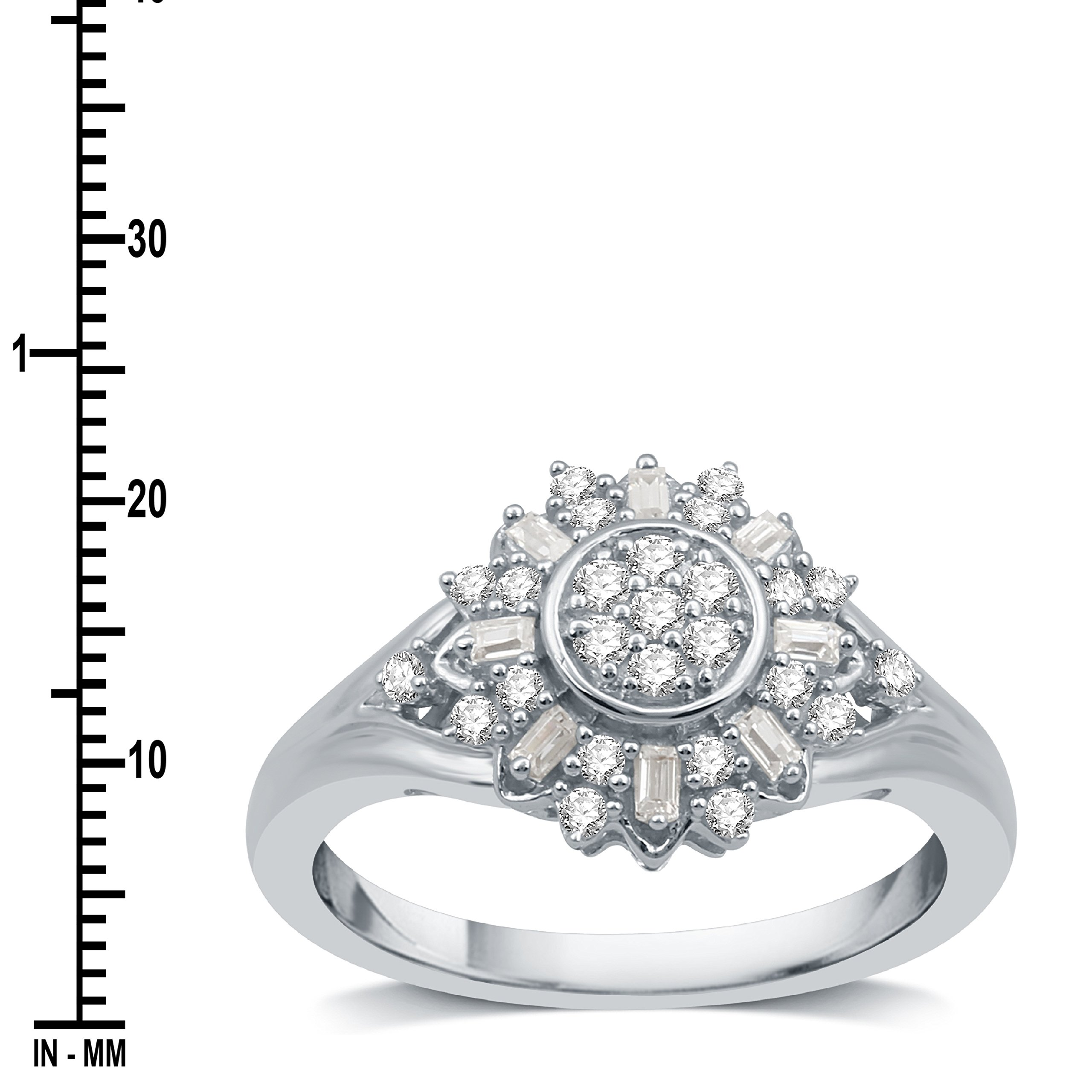 DeCarat 1/3 CT.T.W. Diamond Sterling Silver Sunflower Shaped Wedding Ring by DeCarat (Image #2)