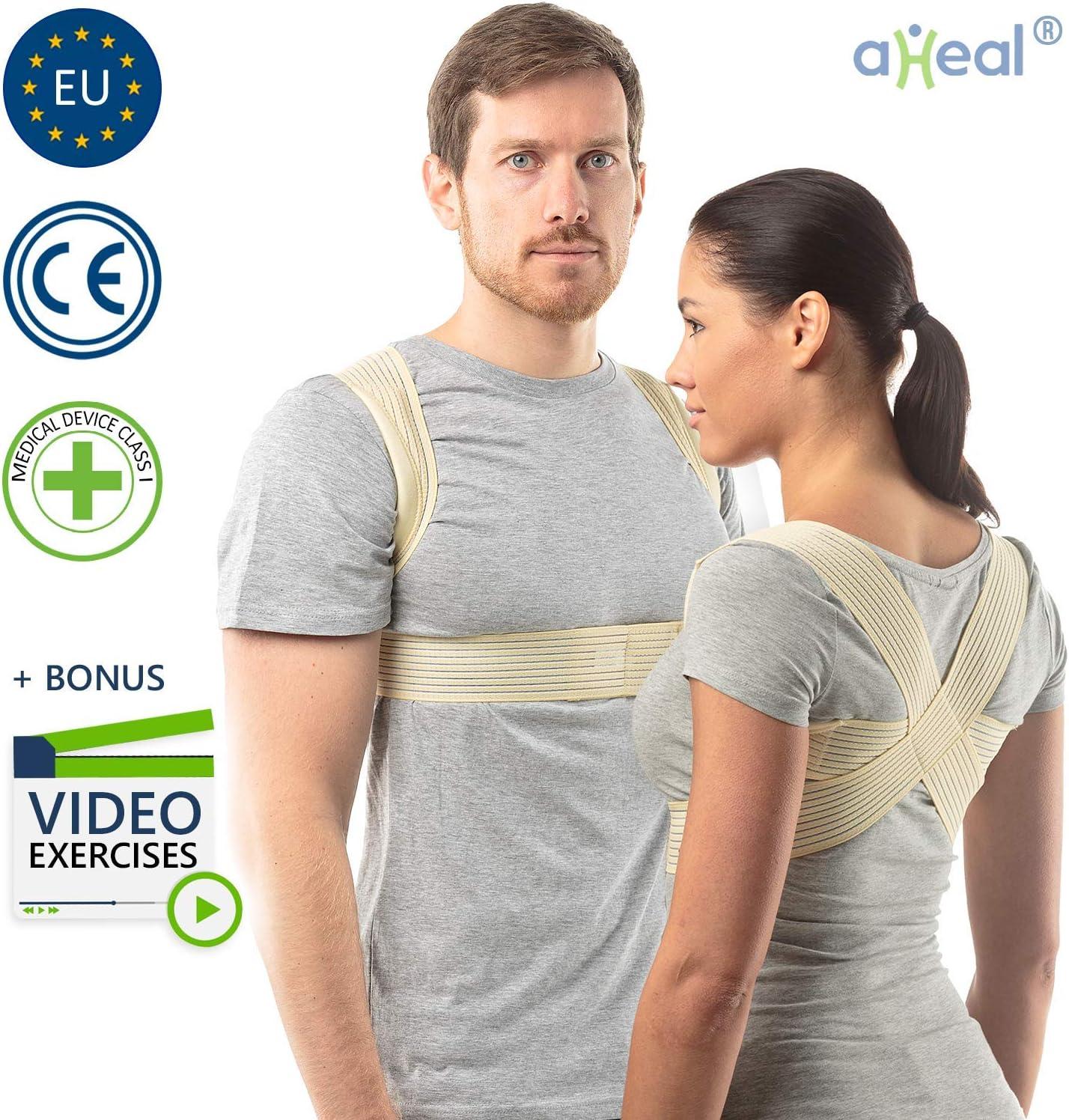 aHeal Corrector de Postura para Hombre y Mujer | Soporte para Corregir la Postura | Corsé Ortopédico para Escoliosis Cifosis | Alivio del Dolor de Espalda y Corrector de Mala Postura | Talla 2 Piel