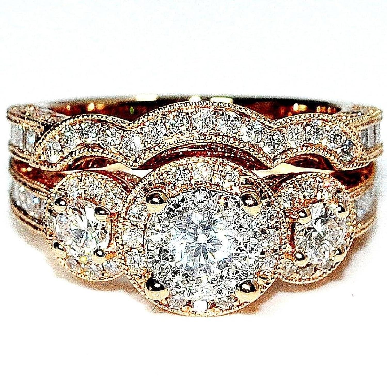 Amazon Rose Gold Bridal rings Set 14K 2 00ctw diamonds