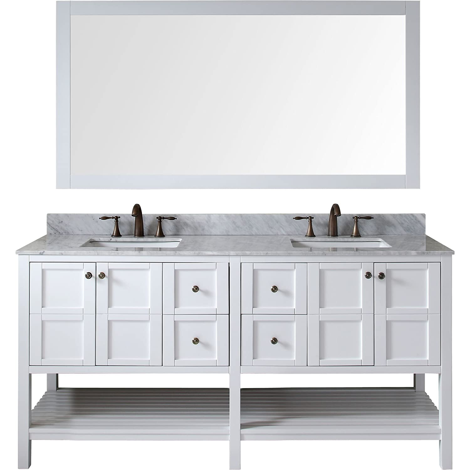 Virtu ED-30072-WMSQ-WH Winterfell Double Bathroom Vanity Cabinet Set ...
