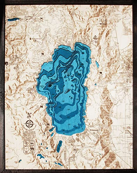 Amazon.com: Large. Hillshade! Blue Lake Tahoe 3-D Wood Map ...