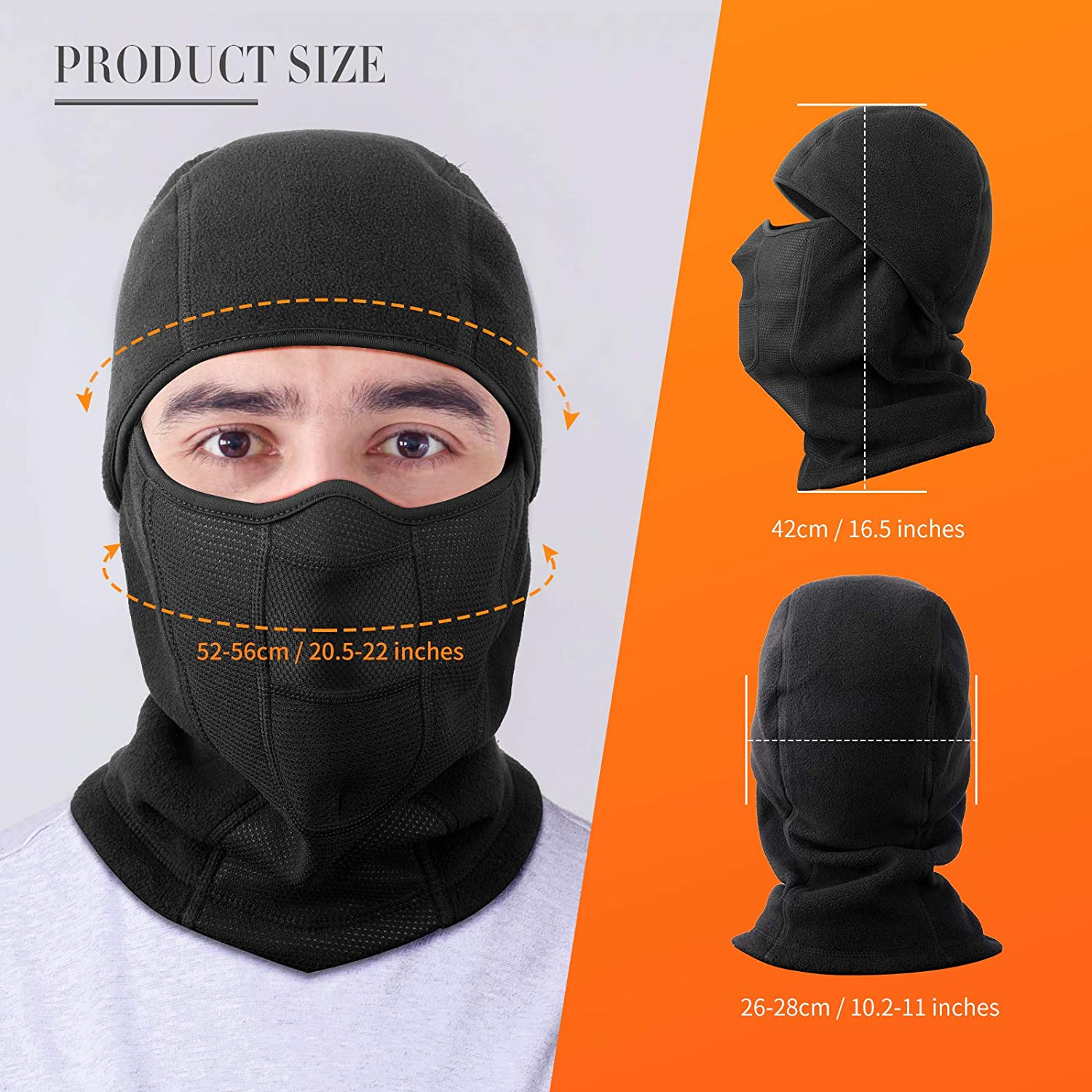 Balaclava Ski Mask Winter - Breathable Face Mask with UV Protection for Men and Women, Windproof & Sandproof Pull On Closure for Cold Weather Working, Skiing, Biking, Motorcycle Riding, Black at  Men's Clothing store