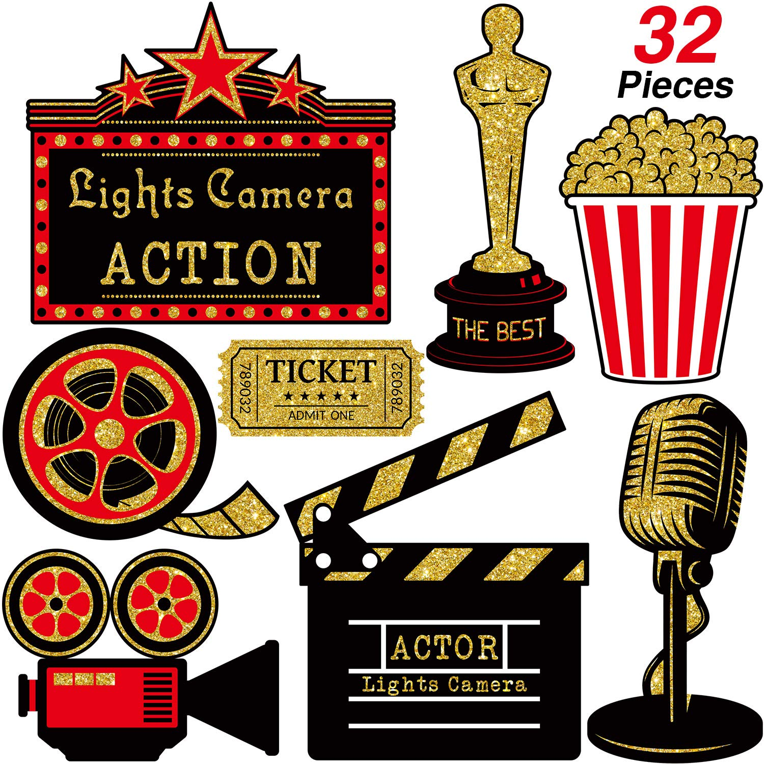 32 Pieces Red Carpet Hollywood Cutouts Hollywood Movie Party Cards Table Toppers Movie Theme Decorations Double-sided Printing Red Golden Black
