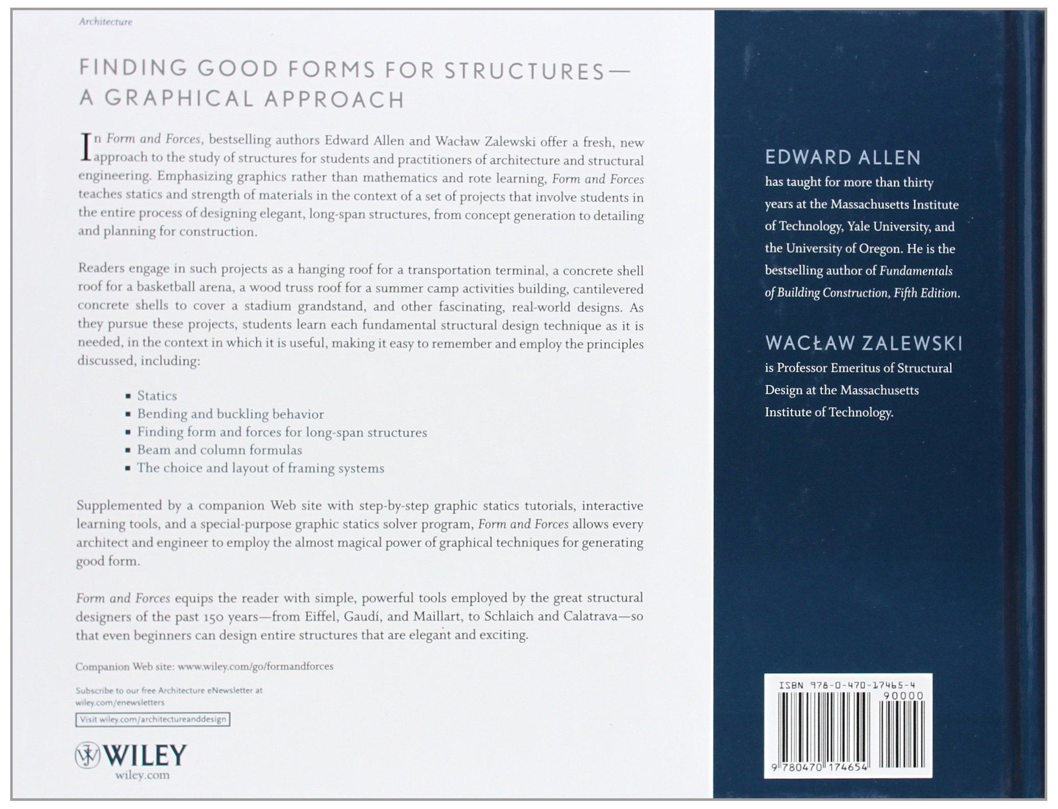Form and forces designing efficient expressive structures edward allen waclaw zalewski 9780470174654 books amazon ca